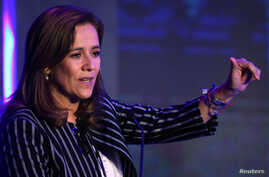 Margarita Zavala, lawyer and member of National Action Party (PAN), speaks during Forbes Forum 2017 in Mexico City, Mexico, Sept. 18, 2017.