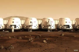 This image from the Mars One website shows what a colony on Mars might look like.