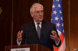 U.S. Secretary of State Rex Tillerson, speaks during a media conference at the Presidential Villa in Abuja, Nigeria,  March 12, 2018.