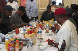 Nigeria's President Muhammadu Buhari receives a delegation of the All Progressives Congress (APC) party in Abuja House in London, Britain, July 23, 2017.
