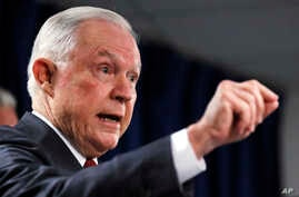 U.S. Attorney General Jeff Sessions gestures during a news conference at the Moakley Federal Building in Boston, July 26, 2018.