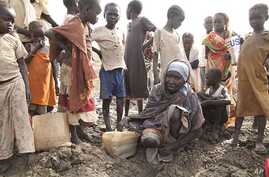 Watering hole for South Sudan refugees in Jamam, Upper Nile State