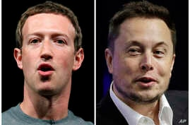 A combo of file images shows Facebook CEO Mark Zuckerberg (L), and Tesla and SpaceX CEO Elon Musk.