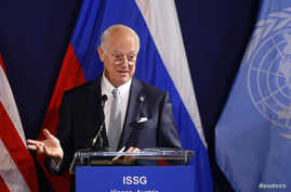 FILE - United Nations special envoy on Syria Staffan de Mistura speaks during a news conference in Vienna, Austria, May 17, 2016.