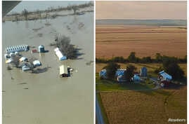 A combination of aerial photos show the farm of Richard Oswald near Langdon, Missouri after flooding March 20, 2019 and in the fall of 2018 at right.