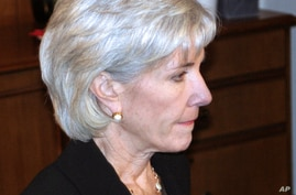 US Health and Human Services Secretary Kathleen Sebelius during an interview with VOA