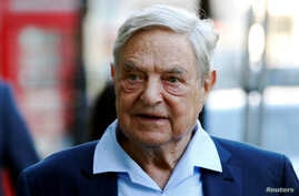 FILE - Business magnate George Soros arrives to speak at the Open Russia Club in London, Britain, June 20, 2016.