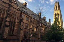 FILE - Harkness Tower on the campus of Yale University in New Haven, Conn., Sept. 9, 2016 photo.
