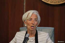 International Monetary Fund (IMF) Managing Director Christine Lagarde speaks during a media briefing following her meeting with President Muhammadu Buhari in Abuja, Nigeria, Jan. 5, 2016