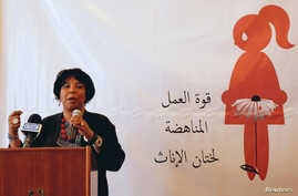 Azza Soliman, lawyer, women's rights advocate and co-founder of the Centre for Egyptian Women's Legal Assistance, speaks during a conference on International Day of Zero Tolerance for Female Genital Mutilation (FGM) in Cairo, Egypt, Feb. 6, 2018.