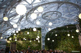Amazon founder and CEO Jeff Bezos opens the Amazon Spheres by asking Alexa during an opening event at Amazon's Seattle headquarters in Seattle, Washington, Jan. 29, 2018. The Spheres are made up of 2,643 glass panels.