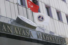 FILE - The entrance of Turkey's top judicial body, the Constitutional Court, in Ankara, Turkey.