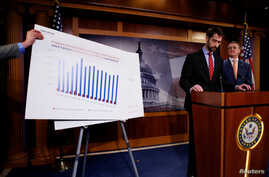 U.S. Senator Tom Cotton (R-AR) (2nd R) and Senator David Perdue (R-GA) (R) unveil legislation aimed at curbing legal immigration by halving the number of legal immigrants admitted into the United States, at the U.S. Capitol in Washington, Feb. 7, 201