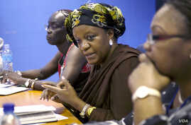 Zainab Hawa Bangura, Special Representative of the Secretary-General on Sexual Violence in Conflict, meets with representatives of civil society organizations, including women's and faith groups, on Oct. 8, 2014 during her visit to South Sudan. Ms. B
