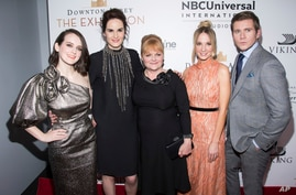 "FILE - (L-R) Sophie McShera, Michelle Dockery, Lesley Nicol, Joanne Froggatt and Allen Leech attend the ""Downton Abbey: The Exhibition"" VIP opening party on Nov. 17, 2017, in New York."