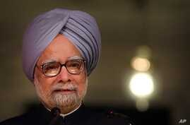 Indian Prime Minister Manmohan Singh speaks during the release of the 'Report to the People', a self-assessment report, at a function to celebrate the completion of four years of UPA's second term in power, in New Delhi, India, May 22, 2013.