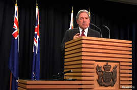 FILE - Winston Peters, leader of the New Zealand First Party, speaks during a media conference in Wellington, New Zealand, Sept. 27, 2017.