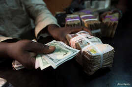 FILE - A trader changes dollars with naira at a currency exchange store in Lagos, Nigeria.