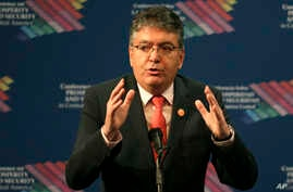 Colombia's Minister of Finance Mauricio Cardenas speaks during the Conference on Prosperity and Security in Central America, June 15, 2017, in Miami.