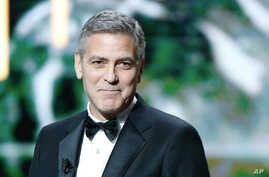 U.S. actor George Clooney speaks on stage prior to receiving an Honorary Cesar award during the ceremony of 42nd Cesar Film Awards, at the Salle Pleyel, in Paris, France, Feb. 24, 2017.