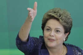 Brazil's President Dilma Rousseff speaks during a press conference at the Planalto Presidential Palace, in Brasilia, Dec. 22, 2014.