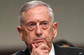 Defense Secretary Jim Mattis listens while testifying on Capitol Hill in Washington, June 13, 2017, before a Senate Armed Services Committee hearing on the defense department's budget.