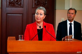 Kaci Kullmann Five, head of the Norwegian Nobel Committee, announces the winner of 2015 Nobel peace prize during a press conference in Oslo, Norway, Oct. 9, 2015.