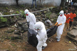 Health workers remove the body of Prince Nyentee, a 29-year-old man whom local residents said died of Ebola virus in Monrovia September 11, 2014. REUTERS/James Giahyue (LIBERIA - Tags: DISASTER HEALTH) - RTR45VK3