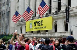 A Snapchat banner hangs on the facade of the New York Stock Exchange, June 16, 2017.
