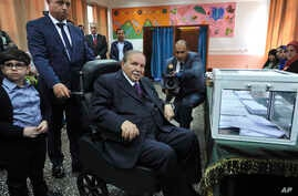 Algerian President Abdelaziz Bouteflika looks on after voting in Algiers,  May 4, 2017.