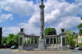 A memorial to Confederate president Jefferson Davis is seen along Monument Avenue in Richmond, Va.
