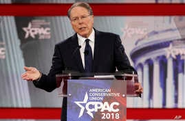 FILE - National Rifle Association Executive Vice President and CEO Wayne LaPierre, speaks at the Conservative Political Action Conference (CPAC), at National Harbor, Md., Feb. 22, 2018. The 2018 election marks the first time that groups supporting gu