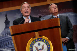 "FILE - U.S. Senator Richard Durbin (D-IL) and Senator Lindsey Graham (R-SC) speak about proposed legislation to deal with so-called ""Dreamers,"" children of undocumented immigrant families who were covered under the Deferred Action for Childhood Arriv..."