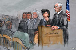 In this courtroom sketch, Boston Marathon bombing suspect Dzhokhar Tsarnaev, second from right, is depicted with his lawyers, left, beside U.S. District Judge George O'Toole Jr., right, as O'Toole addresses a pool of potential jurors in a jury assemb