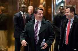 FILE -  Anthony Scaramucci arrives at Trump Tower in New York. A prominent New York financier is set to be named a top White House adviser to President-elect Donald Trump, Dec. 5, 2016.