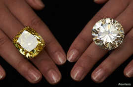 A model poses with a vivid yellow 100.09 carats diamond (L) and a 103.46 carats diamond ring during an auction preview at Sotheby's in Geneva May 7, 2014. These items are expected to reach between CHF 13,250,000 to 22,250,000 (USD 15,000,000 to 25,00