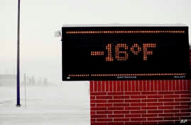 Moorhead, Minnesota elementary school electronic sign shows to temperature on Jan. 29, 2019. Daytime temperatures in the Fargo-Moorhead area were near -20F as frigid weather grips the area.