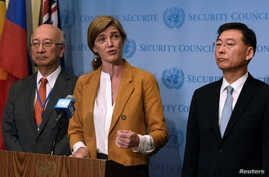 U.S. Ambassador Samantha Power (C) speaks to the press with Japanese Ambassador Koro Bessho (L) and South Korean Ambassador Hahn Choong-hee (R) following the U.N. Security Council closed door meeting to discuss the latest missile launches by North Ko
