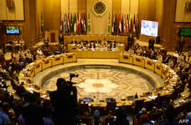 A general view of a meeting in the Arab League's headquarters in the Egyptian capital, Cairo, on May 23, 2015, where Arab army chiefs met to discuss the details of building a region-wide joint Arab military force to combat jihadists including the Isl