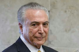 Brazil's President Michel Temer arrives to attend a swearing-in ceremony of the newly-confirmed Justice Minister Alexandre de Moraes, in Brasilia, Brazil, March 22, 2017.