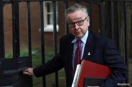 FILE - Britain's Secretary of State for Environment, Food and Rural Affairs Michael Gove leaves 10 Downing Street in London, May 22, 2018.