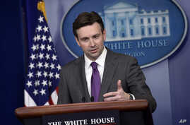 White House press secretary Josh Earnest speaks during the daily briefing at the White House in Washington, Wednesday, Dec. 10, 2014. Earnest answered questions about the Senate CIA torture report.