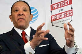 """National Urban League CEO Marc Morial speaks about the """"2017 State of Black America"""" report at the National Urban League in Washington, May 2, 2017."""