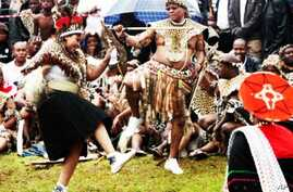 Zuma dances at his 2010 wedding to his third wife