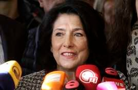 Salome Zurabishvili, former Georgian Foreign minister and presidential candidate, speaks to the media at her campaign headquarter in Tbilisi, Georgia, Nov. 28, 2018.  The former foreign minister of Georgia celebrated what she claims is her victory in