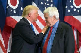 Republican Presidential candidate Donald Trump and former House Speaker Newt Gingrich share the stage during a campaign rally  in Cincinnati, July 6, 2016. Gingrich is expected to be part of President Trump's leadership team, either as secretary of s