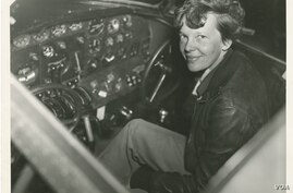 Amelia Earhart in cockpit