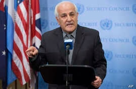 Palestinian U.N. Ambassador Riyad Mansour speaks during an emergency meeting of the U.N. Security Council on the worsening situation in Gaza at United Nations headquarters, July 20, 2014.