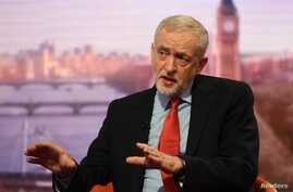 Britain's opposition Labour Party leader Jeremy Corbyn appears on the BBC's Andrew Marr Show in this photograph received via the BBC in London, Jan. 15, 2017.