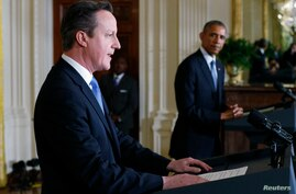 U.S. President Barack Obama and British Prime Minister David Cameron appear at their joint press conference following their meeting at the White House in Washington, Jan. 16, 2015.
